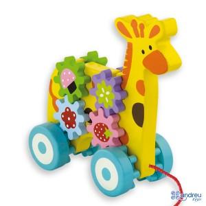 Andreu toys Жираф за дърпане със зъбни колела