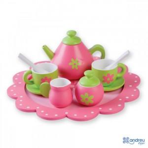 Andreu toys Дървен сервиз за чай Цветя