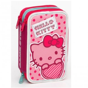 Auguri Preziosi несесер с 3 ципа - пълен Hello Kitty