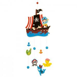 Bigjigs дървена въртележка пирати