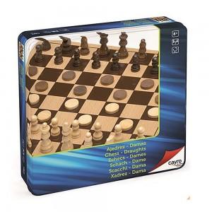 Cayro Дървен шах и дама в метална кутия