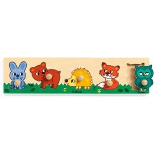 Djeco Дървен пъзел с дръжки животни