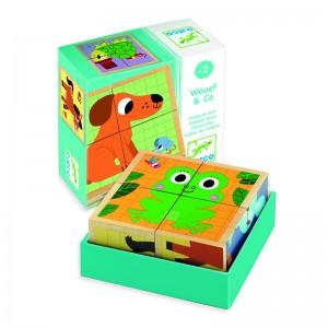 Djeco дървени кубчета Wouaf and Co
