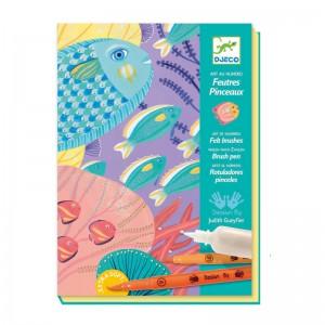 Djeco Комплект за рисуване с флумастри и перлена боя