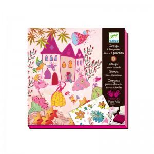 Djeco Комплект за рисуване с печати Princesses