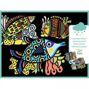 Djeco Картини за оцветяване с кадифе Pretty fishes