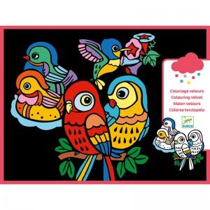 Djeco Картини за оцветяване с кадифе Baby birds