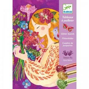 Djeco Комплект за рисуване с брокат красиви цветя