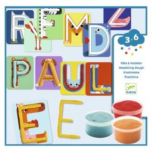 Djeco Комплект за моделиране на букви с пластилин