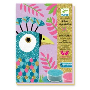 Djeco Комплект за оцветяване с брокат и цветен пясък Dazzling birds