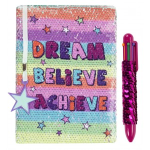 Fringoo тефтер и химикалка с пайети Dream Believe Achieve