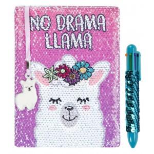 Fringoo тефтер и химикалка с пайети No Drama Llama