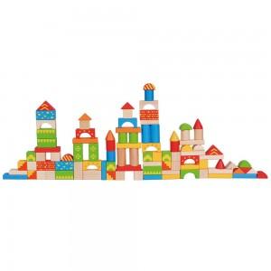 Lelin Toys Дървен конструктор в кофа 100 части