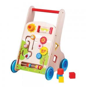 Lelin Toys Дървена бебешка проходилка