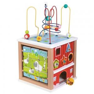Lelin Toys Голям дидактически куб Ферма