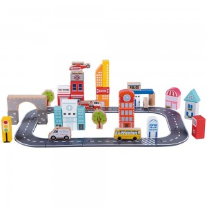 Lelin Toys Дървен конструктор Град