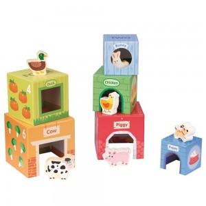 Lelin Toys картонени кубчета с дървени животни
