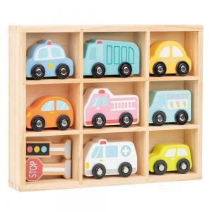 Lelin Toys Комплект дървени колички