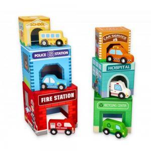 Lelin Toys картонени кубчета с дървени превозни средства