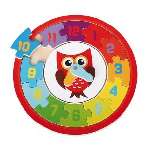 Lelin Toys Дървен пъзел-часовник Бухал