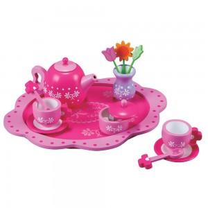 Lelin Toys Дървен сервиз за чай Цветя