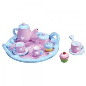 Lelin Toys Дървен сервиз за чай Сърца
