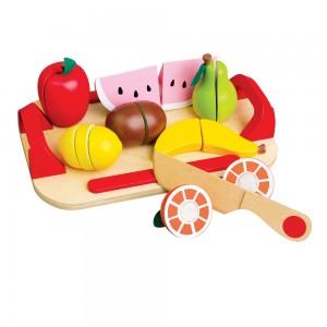 Lelin Toys Дървени плодове за рязане с табличка