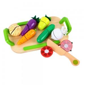 Lelin Toys Дървени зеленчуци за рязане с табличка
