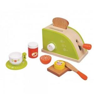 Lelin Toys Дървен тостер с продукти за закуска