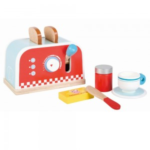 Lelin Toys Дървен тостер с комплект закуска