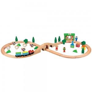 Lelin Toys Дървено влакче с релси