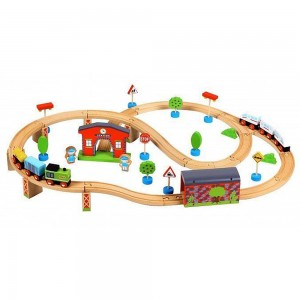 Lelin Toys Дървен влак с релси и виадукт