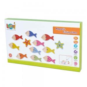 Lelin Toys Дървен магнитен риболов