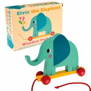 Elvis The Elephant дървено слонче за дърпане