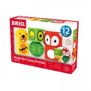 Brio дървени кубчета с магнити животни