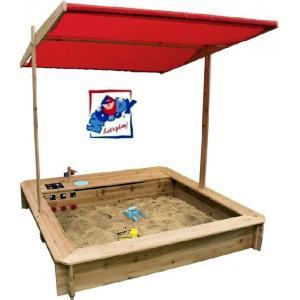 Woodyland Дървен пясъчник с покрив и детска кухня за игра