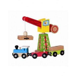 WOODY Дървен кран с товарен влак