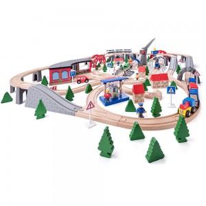WOODY Дървен влак с релси Индустриална зона