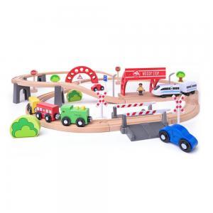 Woodyland Дървен комплект с релси, виадукт и електрически локомотив