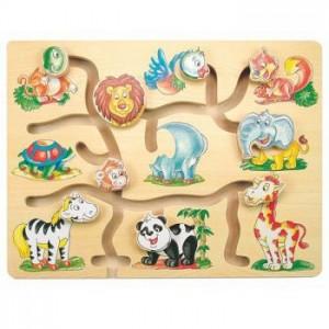 WOODY  Дървен пъзел - лабиринт Забележителни животни